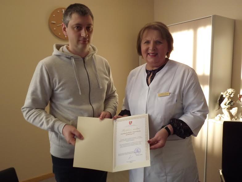 Radviliškio ligoninės direktorė D. Povelauskienė ir informacinių technologijų specialistas G.Marudinas.